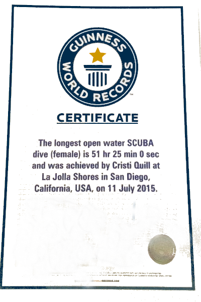 Longest open saltwater SCUBA dive (female) 2