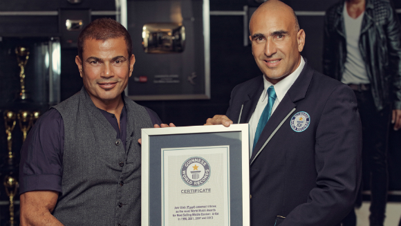 Egyptian singer Amr Diab recognised by Guinness World Records for Most World Music Awards wins