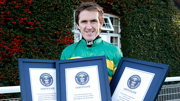 Jockey AP McCoy races to triple world record achievement