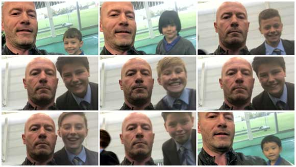 Football legend Alan Shearer teams up with Newcastle school kids to attempt selfie world record