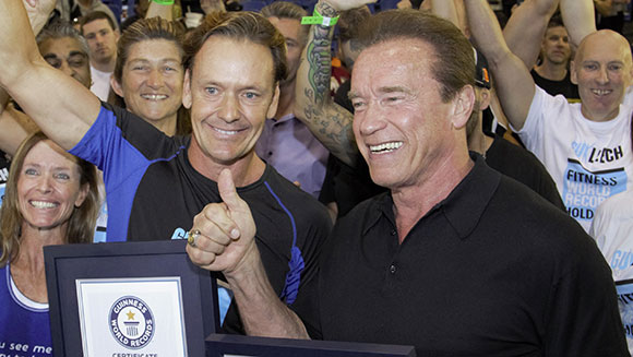 Arnold Schwarzenegger honoured during fitness lesson record attempt in Australia
