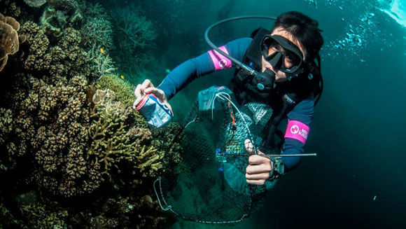 Volunteer divers help set longest underwater clean-up record in Malaysia
