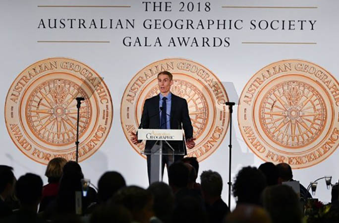 Steven accepting the Australian Adventurer of the Year award. Photo: Australian Geographic