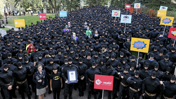 Calgary turns into Gotham as group breaks record for largest Batman gathering