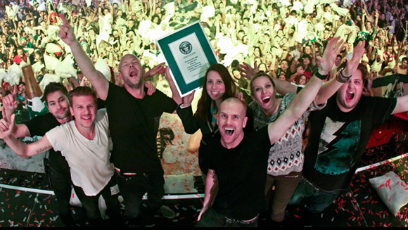 "(VIDEO) Dada Life takes ""Born to Rage"" up a notch with largest pillow fight"