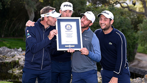 Sergio Garcia on hand as European Tour golf stars break Fastest hole in golf by a team of four world record