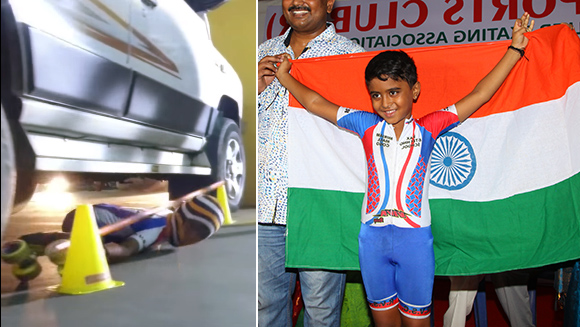 Video: Six-year-old Indian boy skates under 36 cars to set new world record