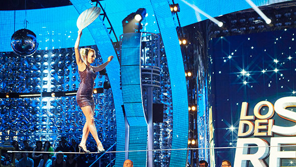 Russian woman walks 15 m tightrope wearing high-heels - Guinness World Records Italian Show