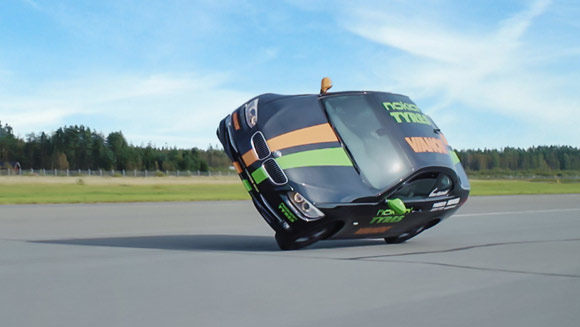 Video: Stunt driver attempts world's fastest side wheelie in a car