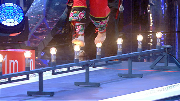 Nimble-footed Chinese women walk across hot light bulbs in new record challenge - Guinness World Records Italian Show