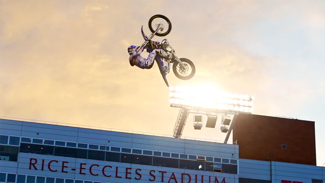 Watch the incredible moment a motocross rider landed the first double front flip
