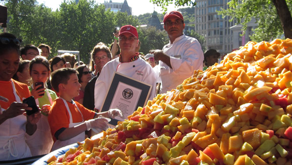 McGill cuts up record for largest fruit salad