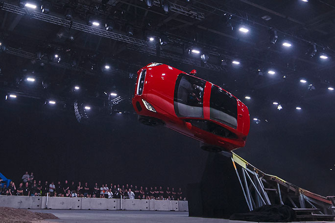 Furthest barrel roll in a production vehicle Jaguar