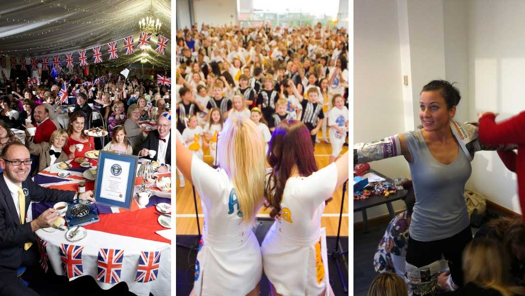 Some of the mass participation records attempted on Guinness World Records Day in previous years including the largest cream tea party, largest cheerleading lesson and fastest time to wrap a person in newspaper by a team of 8