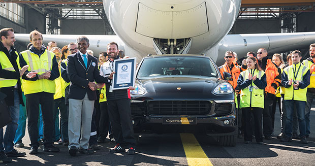 Heaviest aircraft pulled by a production car certificate presentation