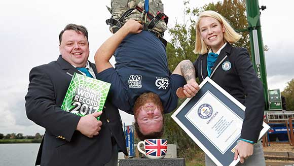 Guinness World Records Day: British thrill seeker dunks biscuit into teacup during bungee jump