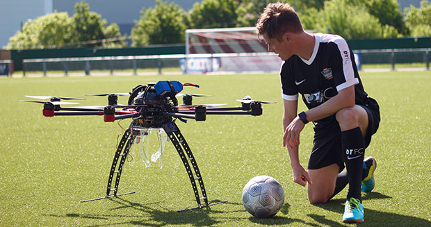 Highest soccer ball dropped and controlled John Farnworth and drone