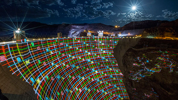Greatest light output in a projected image - Hoover Dam 1