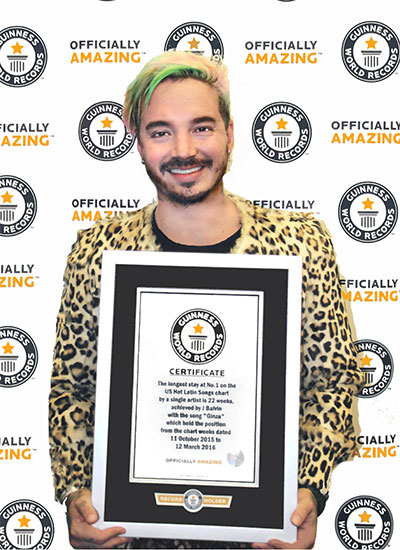 J. Balvin with his Guinness World Records certificate
