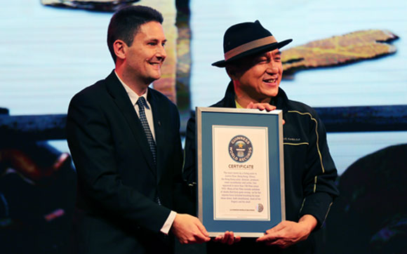 Jackie Chan awarded with two new Guinness World Records titles
