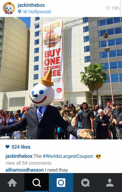 Jack in the Box Instagram Guinness World Records Coupon