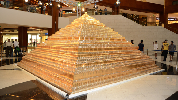 Largest cardboard box pyramid built in Kuwait