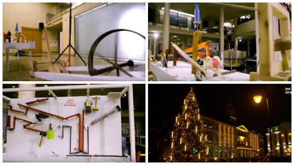World's largest Rube Goldberg machine lights up Christmas tree for Latvian town