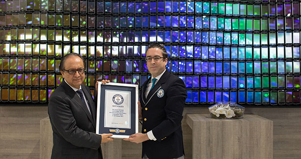 Largest animated mobile phone mosaic certificate presentation