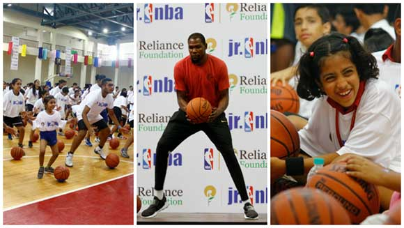 NBA star Kevin Durant teaches world's largest basketball lesson in India