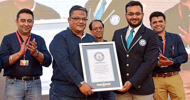 Largest cricket ball mosaic certificiate presentation