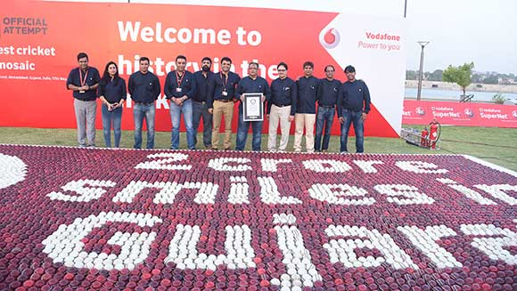 Vodafone India employees make world's largest cricket ball mosaic