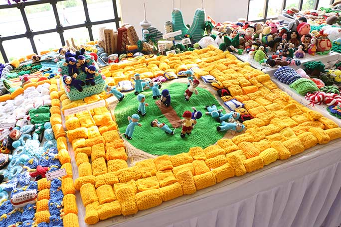 Largest display of crochet sculptures scene
