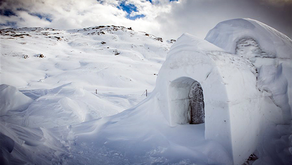 Largest dome igloo made of snow is unveiled in Switzerland