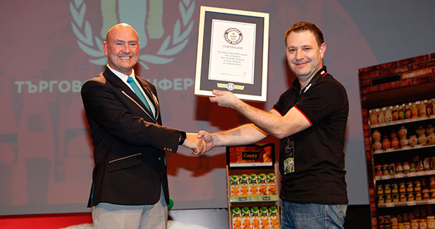 Largest glass bottle mosaic certificate presentation