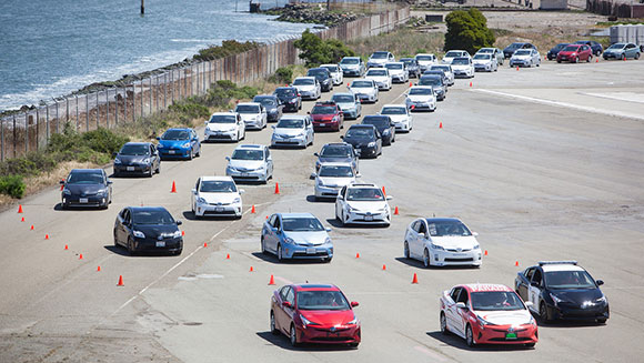 Toyota breaks hybrid car parade record to celebrate launch of new Prius