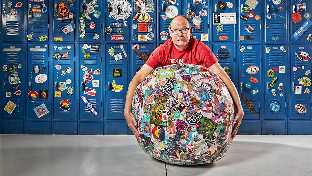 Video: World's largest sticker ball rolls into the record books