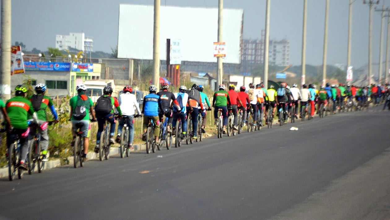 Thousands Of Bangladeshi Cyclists Break Record For Longest Line Of