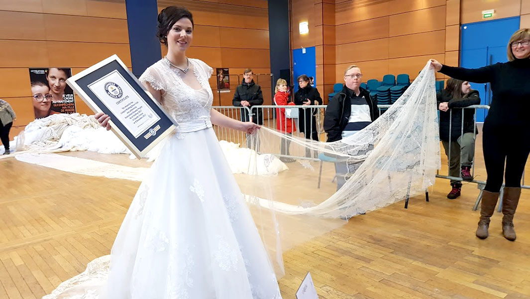 World's longest wedding dress train could almost cover Mount Everest