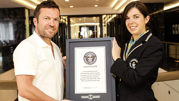 Double joy for Lothar Matthäus as Germany World Cup legend is presented with Guinness World Records certificate