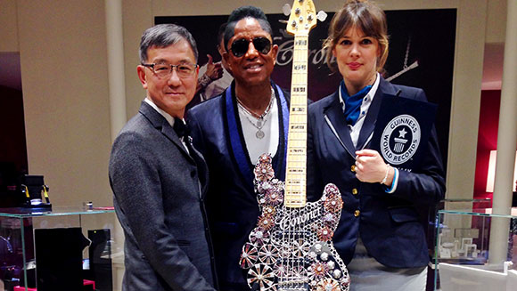 Video: Jermaine Jackson performs with spectacular jewelled guitar to set record in Switzerland