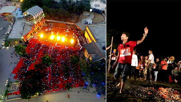 Video: 1,356 people take part in firewalking world record attempt in India