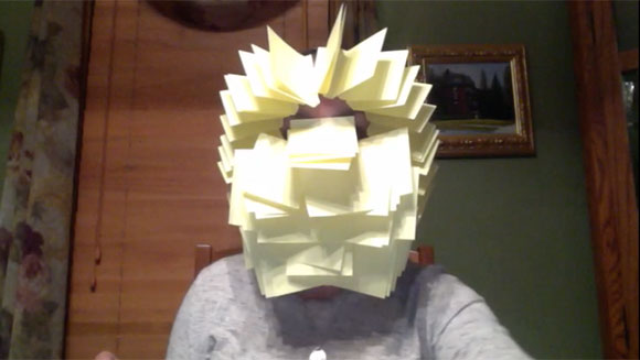 Video Classics: American woman covers entire face with sticky notes in hilarious record attempt