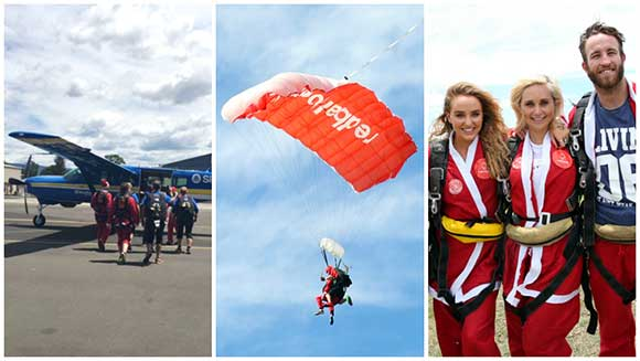 Aussies dress up as Santa Claus and take on parachute jump challenge for Christmas
