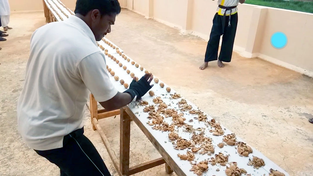 Martial arts master crushes 212 walnuts with his hand for world record