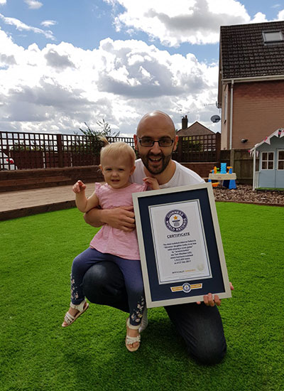 Tom and his daughter with their GWR certificate