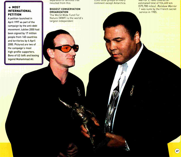 Muhammad Ali in Guinness World Records 2001 book