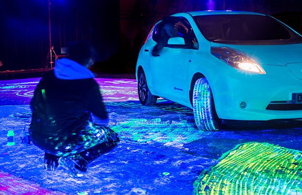 Nissan Leaf largest UV painting Guinness World Records 2