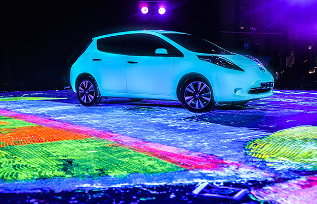 Nissan Leaf largest UV painting Guinness World Records 3