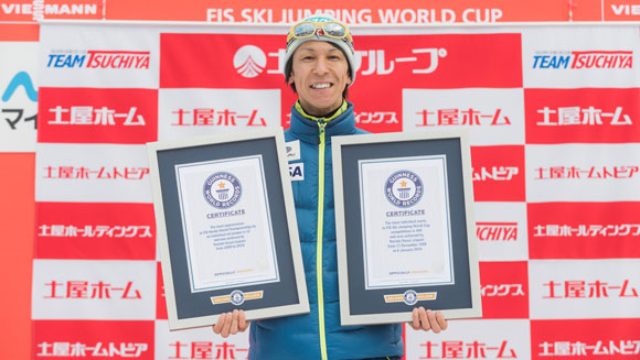 Japanese athlete Noriaki Kasai honoured with world record certificates at FIS Ski Jumping World Cup