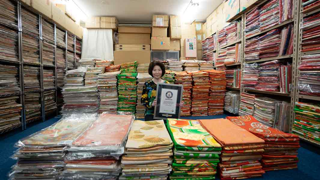 Japanese woman breaks record for kimono sashes with collection of more than 4,000